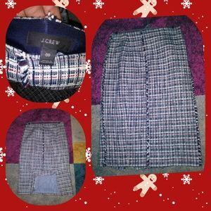 J crew tweed fitted knee length skirt
